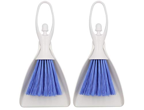 LBY 2 Sets Hand Broom and Dustpan Set, Mini Dustpan Brush Nesting Tiny Cleanning Whisk Broom, Hand Broom with Ergonomic Grip Handle, for Desk, Keyboard, Car Cleaner Tools Set 2 in 1
