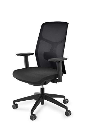 vabo Drehstuhl mit hoher Netz-Rückenlehne, Büro-Stuhl mit gepolstertem Sitz, verstellbaren Armlehnen, Schreibtisch-Stuhl mit Lumbalstütze in schwarz