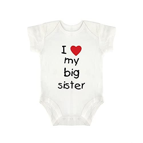 DKISEE I Love My Big Sister Body de manga corta de algodón blanco bebé mono 6-9 meses, og7xgsyd85kg