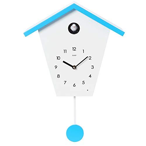 Cuco Clock Orologio a cucù SCHWARZWALDHAUS con Pendolo, Orologio da Parete, Orologio a cucù Moderno, Orologio della Foresta Nera Bianco Blu