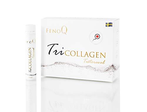 FenoQ TriCOLLAGEN Testoreval, 3000 mg Liquid Collagen - 14 Bottles (25ml Each) for Fertility, Masculinity, Youthfulness and Unlimited Mobility, Tribulus Terrestris, Biotin – 3000 mcg, Vitamins A, C