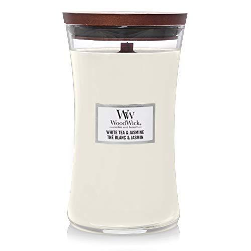 Große WoodWick Duftkerze im Sanduhrglas mit knisterndem Docht, White Tea und Jasmine, bis zu 130 St&en Brenndauer
