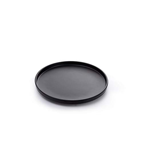 Nordic Style Dinnerware Sets,Platters,Dinner Plates,Toddler Dishes, Western Plates,Round Tray, Tea Tray, Snack Tray, Storage Tray, Snack Tray, Plant Fibres (Color : Black, Size : 10')