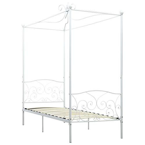 Festnight Himmelbett Gestell Metallbett Bettgestell Bett Bettrahmen für Schlafzimmer oder Gästezimmer Weiß Metall 90 x 200 cm