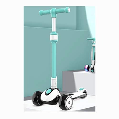 ZYM Sichere Kinder Roller Scooter Flash-Rad-Roller Kinder-Roller 3-Rad-Roller, 3 höhenverstellbare PU-Räder extra...