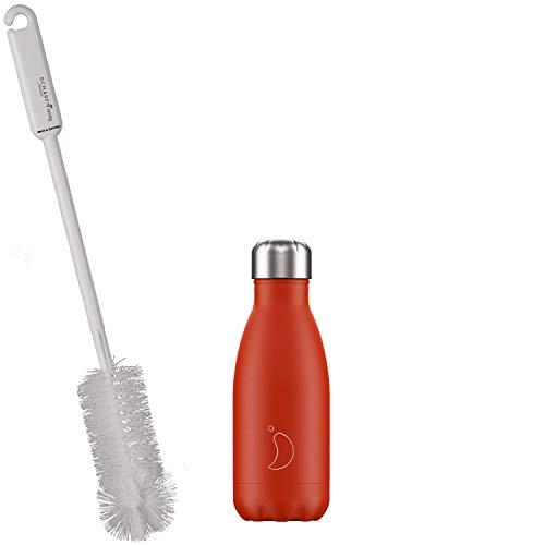 CHILLYs Trinkflasche & Isolierflasche Neon Red Bottle - Edelstahl Thermos Wasserflasche - Flasche hält 24 Std. kalt & 12 Std. heiß + SCHARFsinnig Flaschenbürste