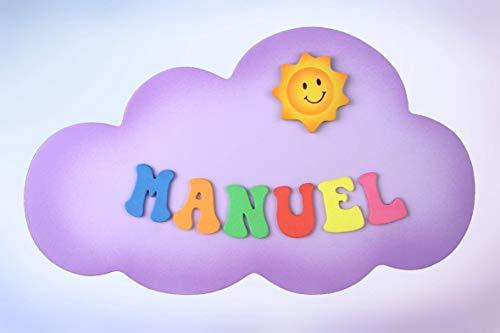 """Placa Cartel decorativo infantil de madera forma de""""nube"""" personalizada con el nombre letras de goma eva, regalo original decoración de pared o puerta."""