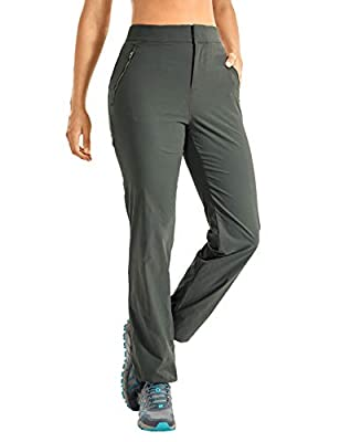CRZ YOGA Women's Lightweight Hiking Pants Zip Off High Rise Stretch Casual Travel Pants with Zipper Pockets Mountain Green Medium
