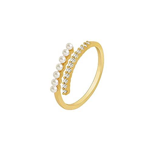 Anillo de dedo índice de perla barroca, diseño de nicho, anillo conjunto, simple, europeo y americano, personalidad, moda, anillo de lujo ligero