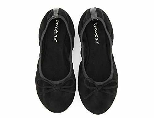 Greatonu Foldable Ballet Flats Fexible Sole Ladies Roll Up Shoes for After Party Slip On Ballerina Black Dolly 8 UK