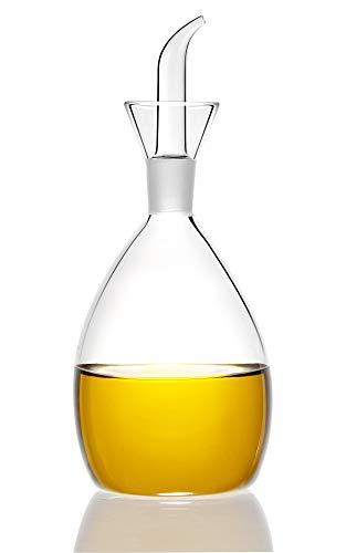HAIZEEN 【500ml Olivenölspender aus Glas mit Öl- und Essigflaschen mit tropffreiem Ausgießer ohne Trichter – Ölkaraffe, Dekanter für Küche und Grill