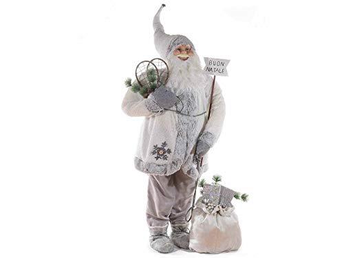 Gruppo Maruccia Babbo Natale Gigante allestimento per vetrine Negozi spettacoli e presepi con Abito e Sacco Doni Altezza 1,90 Metri Decorazione Natalizia