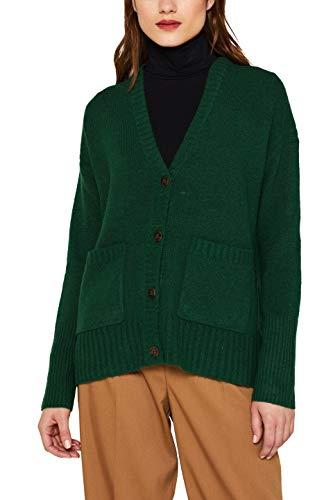 ESPRIT Damen 099EE1I031 Strickjacke, Grün (Bottle Green 5 389), Medium (Herstellergröße: M)