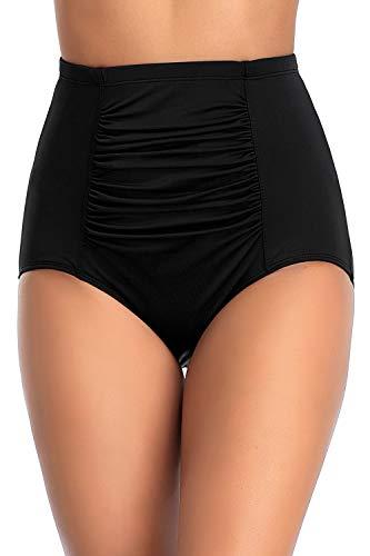Perona Damen Badehose mit hoher Taille, Geraffte Bikini-Hose, Retro-Tankini-Hose - Schwarz - 44 DE