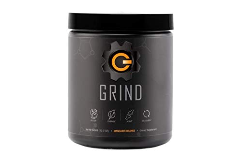 GRIND - Pre Workout Energy w/Joint Support & BCAA Recovery (Mandarin Orange) Powder (30 Servings) - Rhodiola, GABA for Clean Healthy Energy - Surgeon formulated All-in-one Energy and Nootropic Mix
