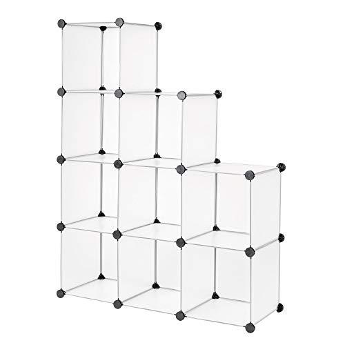 dibea Steckregal aus Kunststoff Schuhregal Aufbewahrungsregal modulares System 9 Fächer (30x30 cm)