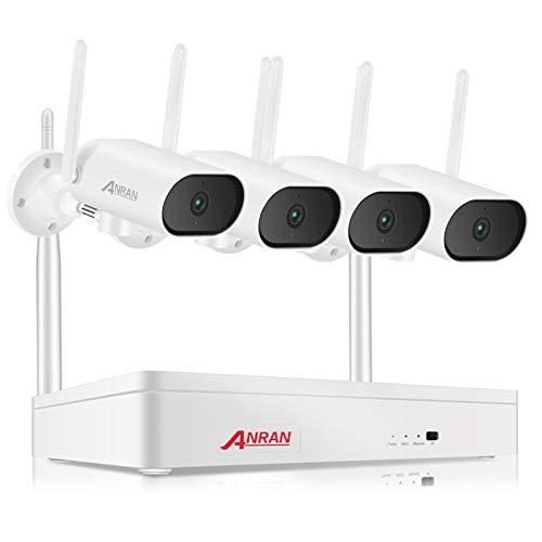 ANRAN Kit de Vigilancia, 1PCS 8CH NVR + 4PCS 3MP Cámaras IP66 Impermeables, Soporta Plug y Play, Visión Nocturna, Detección de Movimiento, Audio Unidireccional, Alarma, Acceso Remoto, sin Disco Duro