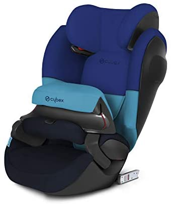 Cybex Silver Pallas M-Fix SL, 2-in-1 Child's Car Seat, High Back Booster, Adjustable Impact Safety Shield and ISOFIX Compatible, Group 1/2/3 (9-36 kg), From Approx 9 Months - 12 Years, Blue Moon