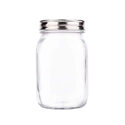 Premium Mason Jars 16 oz by Soul, Crystal Glass, Airtight Stainless Steel Lid, Dishwasher Safe, BPA Free, Drinking Jar, Canning Jar [3rd Gen]