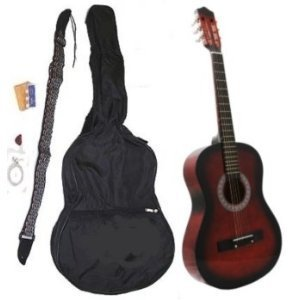 38' COFFEE Student Acoustic Guitar Starter Package, Guitar, Gig Bag, Strap, Pitch Pipe & DirectlyCheap(TM) Translucent Blue Medium Guitar Pick (CF-AG38)