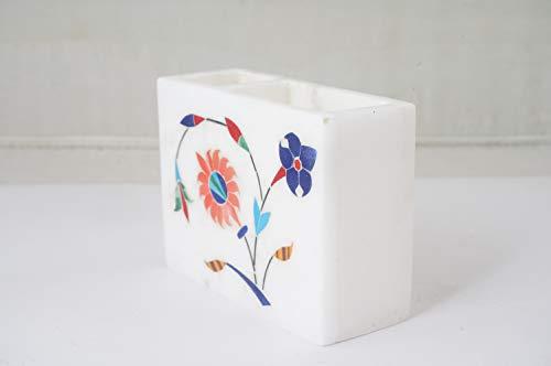 FASHIONZAADI - Soporte para bolígrafo y tarjeta de mármol blanco natural de champán, dispensador para casa, oficina, decoración de mesa y gran regalo (10 x 4 x 8 cm), #AGRA-056