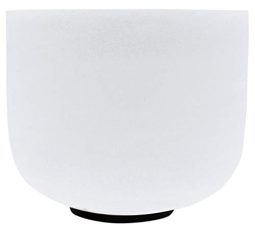 440 Hz 25.4 CM Tono C - Cuenco de cuarzo para cantar con junta tórica y mazo de cristal, color blanco esmerilado, color blanco