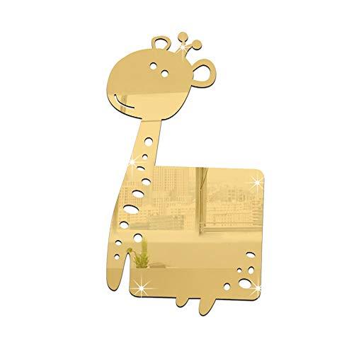 Chlyuan-hm Spiegel-Wandaufkleber 3D Acryl Moderne Spiegel Wandaufkleber Giraffe DIY Wandtattoo Home Raumdekoration Home Room Decors Abziehbilder (Farbe : Gold)