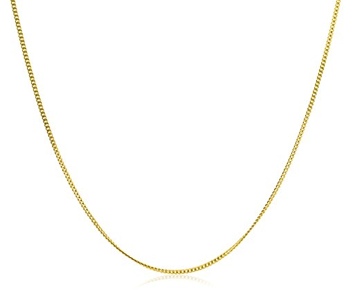 Miore Plain Necklace 9ct Yellow Gold 1.2mm Curb Chain 42cm + 3cm Extender CHNV9YB