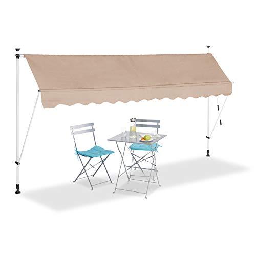 Relaxdays, beige Klemmmarkise, Balkon Sonnenschutz, einziehbar, Fallarm, ohne Bohren, höhenverstellbar, 350 cm breit
