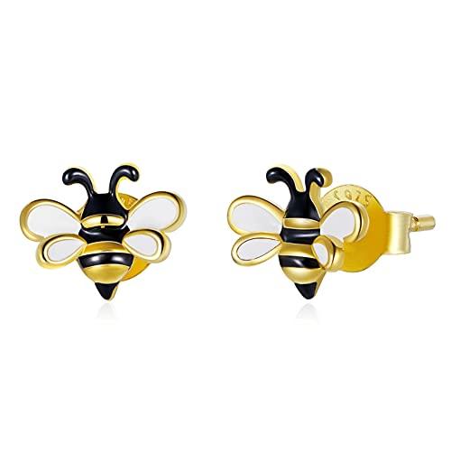HMMJ Pendientes De Botón para Mujer, Plata Hipoalergénica S925, Joyería de Piercings Little Bee Chapada en Oro Real SCE1182