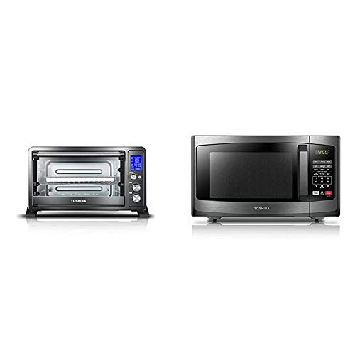 Toshiba AC25CEW-BS Digital Toaster Oven, Black Stainless Steel & EM925A5A-BS Microwave Oven with Sound On/Off ECO Mode and LED Lighting, 0.9 Cu. ft/900W, Black Stainless Steel