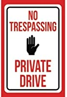 2個 立ち入り禁止のプライベートドライブブリキサインメタルプレート装飾サイン家の装飾プラークサイン地下鉄メタルプレート8x12インチ メタルプレート レトロ アメリカン ブリキ 看板