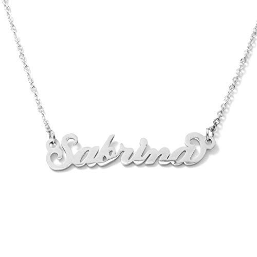 Women's Necklace with Name in Italic Steel Elegant Adjustable Choker Hypoallergenic Silver Color Gift Box Included