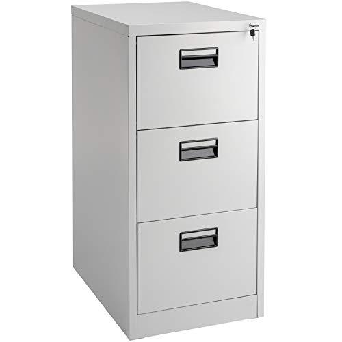TecTake 402487 - Abschließbarer Aktenschrank mit 3 Schubladen für Hängemappen in DIN 4, inkl. 2 Schlüssel - grau