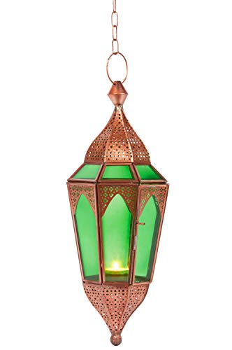 Orientalisches Windlicht Laterne Glas Lalita Grün 41 cm groß | Orientalische Glas Teelichthalter Hängewindlicht mit Henkel orientalisch | Marokkanische Windlichter hängend als Hängewindlichter