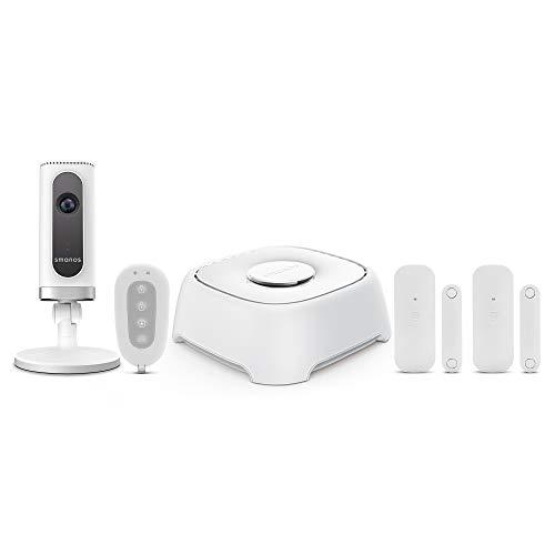 SMANOS W120i Sistema de Alarma WiFi y Cámara HD - Sistema de Alarma con Panel de Control, Cámara de Seguridad, Sensores de Puertas/Ventanas, Control Remoto Incluido, Funciona con Amazon Alexa