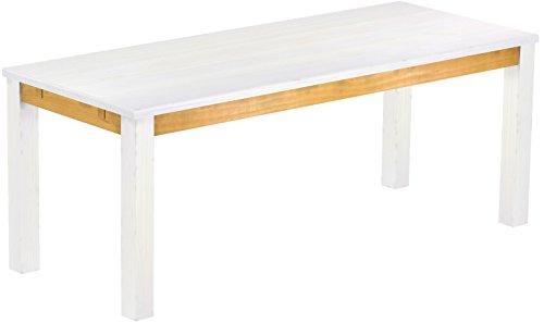 Brasil Furniture Eettafel Rio Classico grootte en kleur naar keuze houten tafel massief grenen, eetkamertafel keukentafel echt hout uittrekbaar klaar voor aansteekplaten Rustiek Tisch 200 x 80 cm 802 Snow Honing