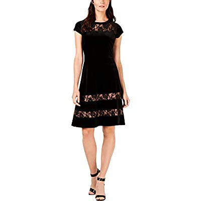 NY Collection Womens Petites Velvet Lace Inset Party Dress Black PXS