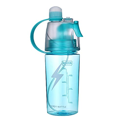 Botella de agua de deportes nebulización,Botella agua en aerosol a prueba fugas de 400ml con pajita abatible,para Ciclismo Escalada Fitness Senderismo Correr Montañismo,Deportes aire libre Hidratación
