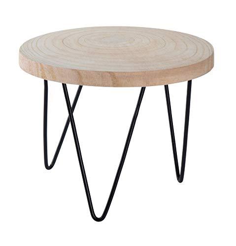 Spetebo Holz Blumentopfständer 23x18 cm - Tisch mit Baumscheibe - Blumenhocker Pflanzenständer Pflanzenhocker