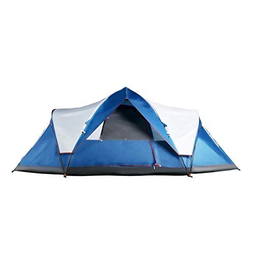 Mobihome 6 Person Tent Family Camping Quick Setup, Instant Extended Pop Up Dome Tents Outdoor, with Water-Resistant Rainfly and Mesh Roofs & Door & Windows - 13.5' x 7', Blue