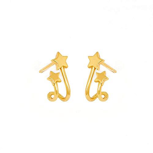 Pendientes Mujer 925 Delicados Pendientes De Botón De Estrella Doble De Plata Elegantes Pendientes De Botón De Joyería De Boda para Mujer - Oro