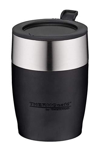 ThermoCafé by THERMOS 4064.233.025 Kaffeetasse DeskCup, Edelstahl Schwarz 0,25 l, passend unter viele Kaffeevollautomaten, BPA-Free