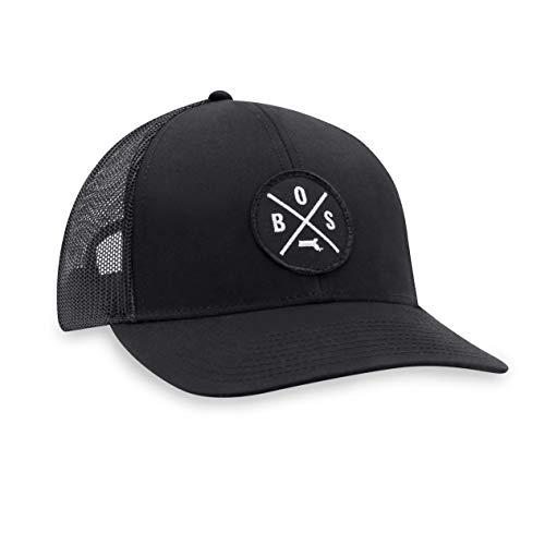 BOS Hat – Boston Trucker Hat Baseball Cap Snapback Golf Hat (Black)