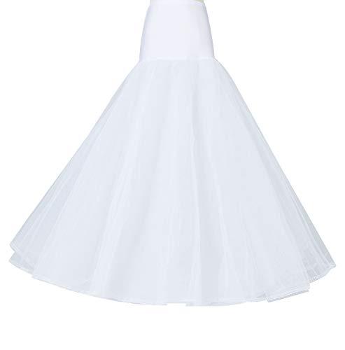 Petticoat Unterröcke Reifrock Damen Rockabilly A Linie Lang für Hochzeit Brautkleid Abendlieid Schwarz  - Weiß - Gr. S/M Für EU (34-40)