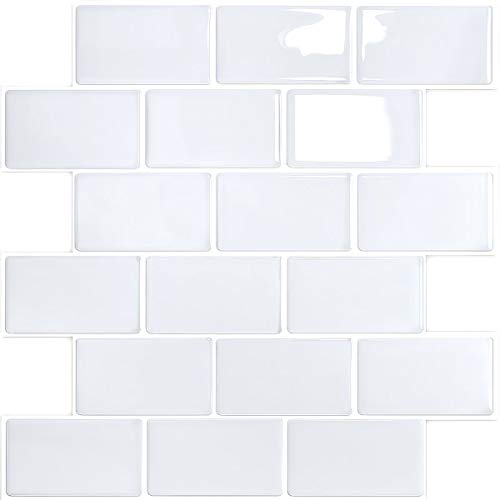 Yoillione Peel and Stick Wall Tiles Stickers Waterproof 3d White Stick on Tile Backsplash, Marble Subway Tile Stickers Self Adhesive Tiles for Kitchen and Bathroom, Pack of 4/12'x12'