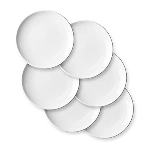 Porcelain Appetizer Plates Set - Delling 7 Inches White Dessert/Salad Plates - Small Kitchen Dinnerware Dishes Set for Snacks, Appetizer, Cak, Holiday Plates Set of 6