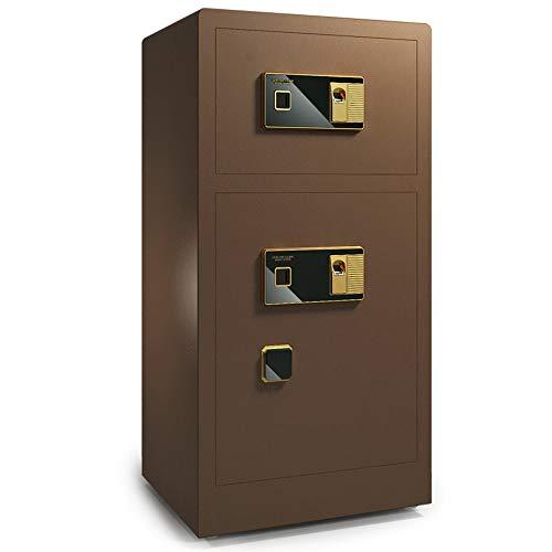 AMRT Kabinettsafes Home Office Large Fingerabdruck-Safe Sicher und Verriegelungs-Kasten Schränke Stahlbau Sicher für den Einsatz zu Hause oder im Büro (Color : Brown B, Size : 44x41x80cm)