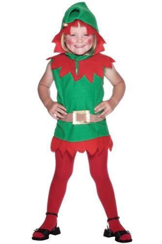 Smiffys, peuters elfen kostuum, tuniek met capuchon en riem, grootte: T1, 26019