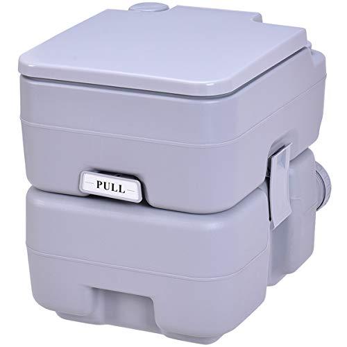 COSTWAY Toilette Portable WC Chimique Portable pour Camping Caravanes Hôpital, Toilette Chimique 20L HDPE Gris